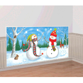Christmas Decorations Whimsical Snowman Backfrop Image